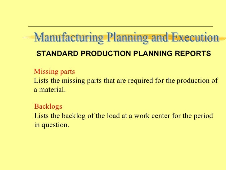 Can someone name all the things which go into a a manufacturing specification process?