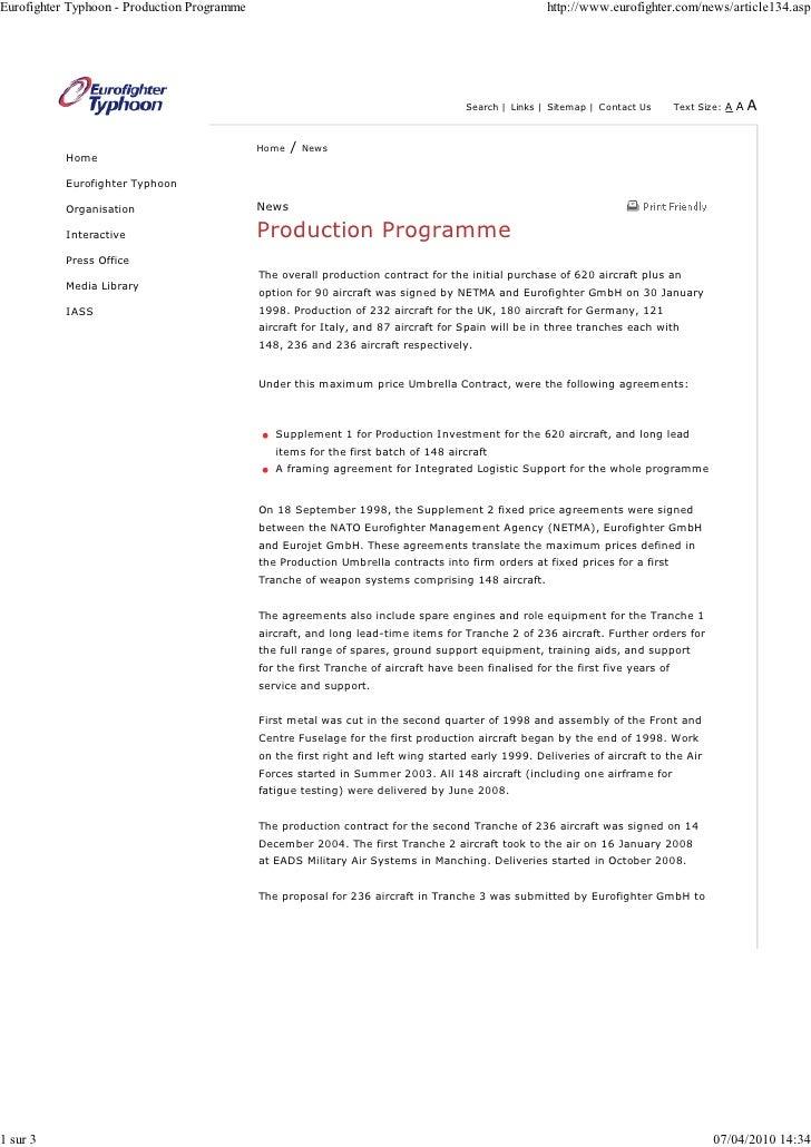 Eurofighter Typhoon - Production Programme                                                           http://www.eurofighte...