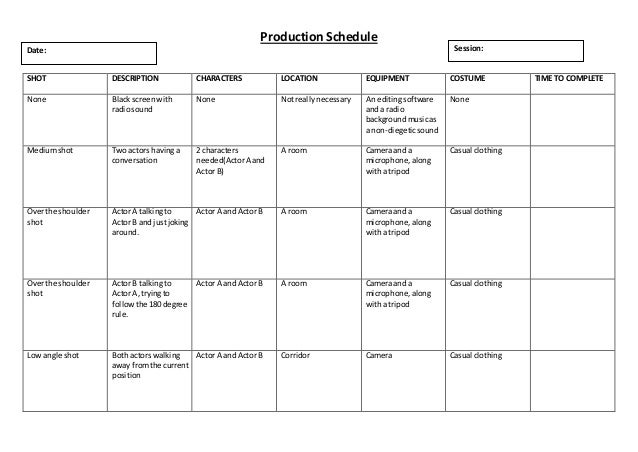 Production schedule template haKl1o0C