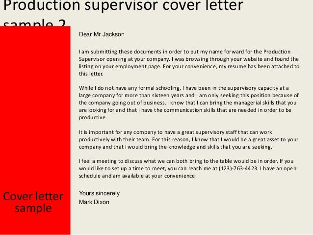 Production supervisor cover letter