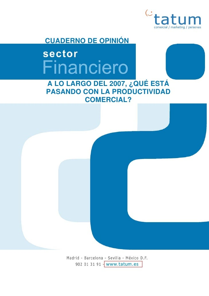 Productividad comercial sector financiero 2007  cuaderno opinion tatum