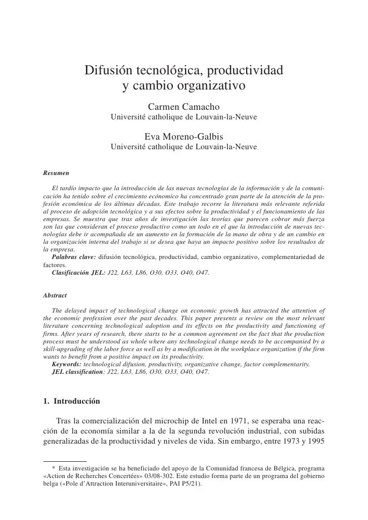 Difusión tecnológica, productividad                      y cambio organizativo                                        Carm...
