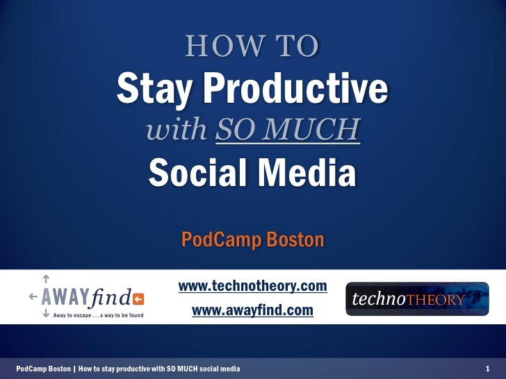Social Media Productivity (delivered to PodCamp Boston '08)