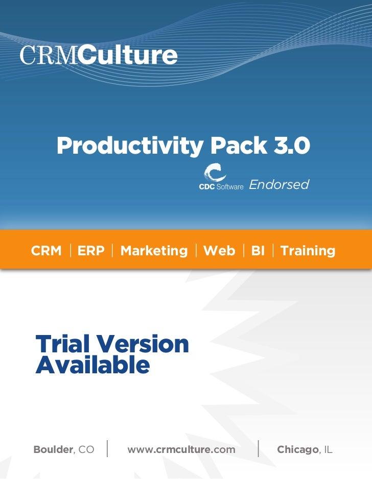 Productivity Pack 3.0                                   EndorsedCRM    ERP    Marketing   Web      BI   TrainingTrial Vers...