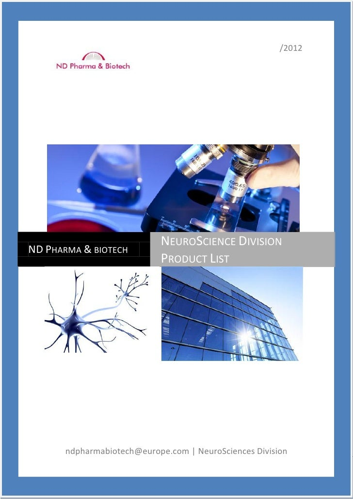 /2012                            NEUROSCIENCE DIVISIONND PHARMA & BIOTECH                            PRODUCT LIST       nd...