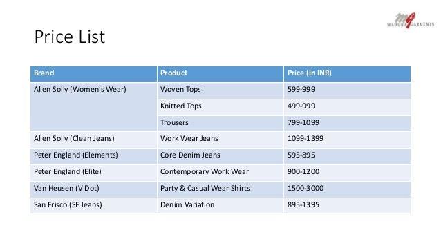 t Shirt Price List Price List Brand Product Price