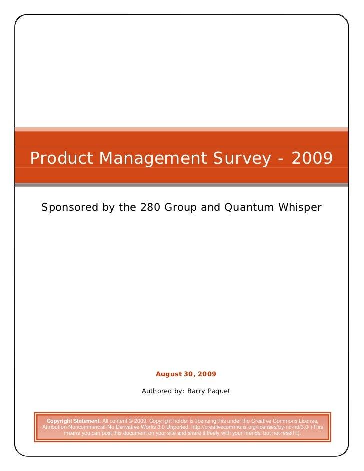 Product Management Survey 2009