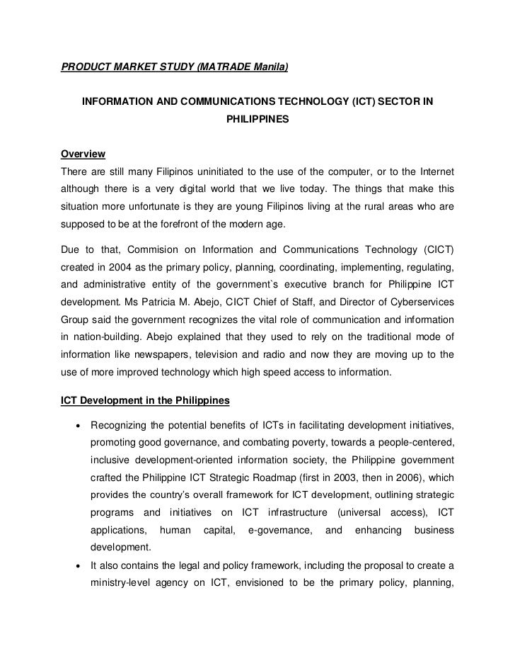 PRODUCT MARKET STUDY (MATRADE Manila)       INFORMATION AND COMMUNICATIONS TECHNOLOGY (ICT) SECTOR IN                     ...