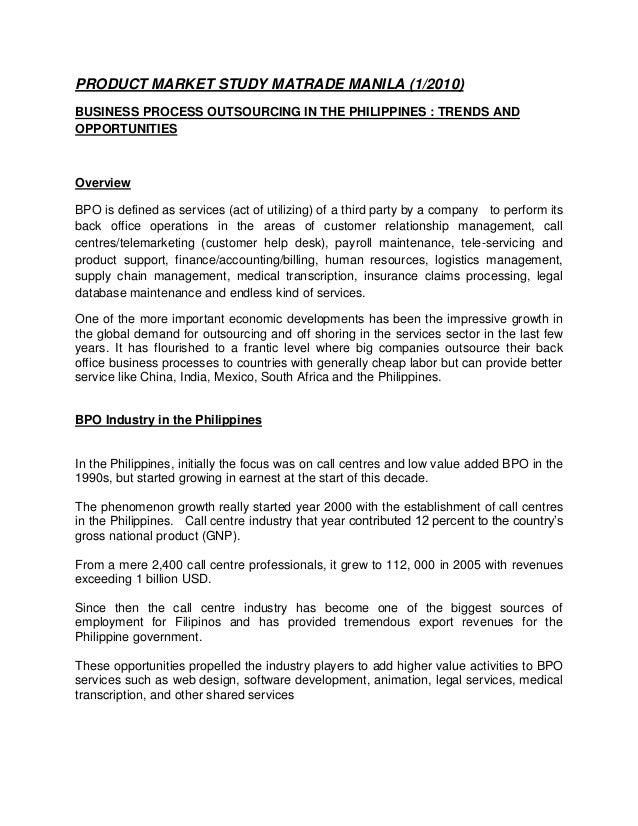 Product Market Study on philippines  bpo industry (oct 2010)