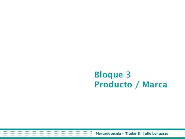 Bloque 3 Producto / Marca  Mercadotecnia – Titular DI Julio Longarzo