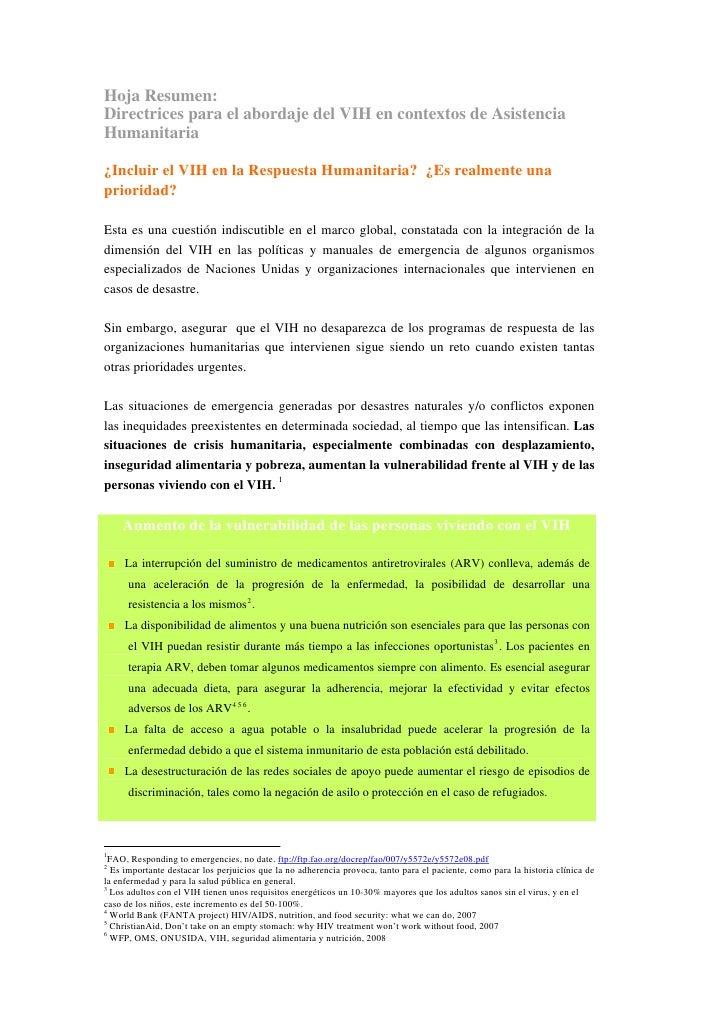 Hoja Resumen:Directrices para el abordaje del VIH en contextos de AsistenciaHumanitaria¿Incluir el VIH en la Respuesta Hum...