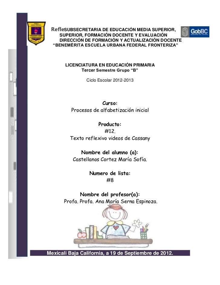 RefleSUBSECRETARIA DE EDUCACIÓN MEDIA SUPERIOR,    SUPERIOR, FORMACIÓN DOCENTE Y EVALUACIÓN    DIRECCIÓN DE FORMACIÓN Y AC...