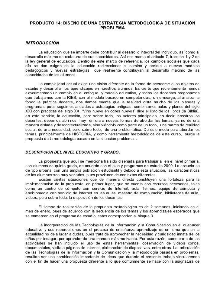 14: DISEÑO DE UNA ESTRATEGIA METODOLÓGICA DE SITUACIÓN PROBLEMA