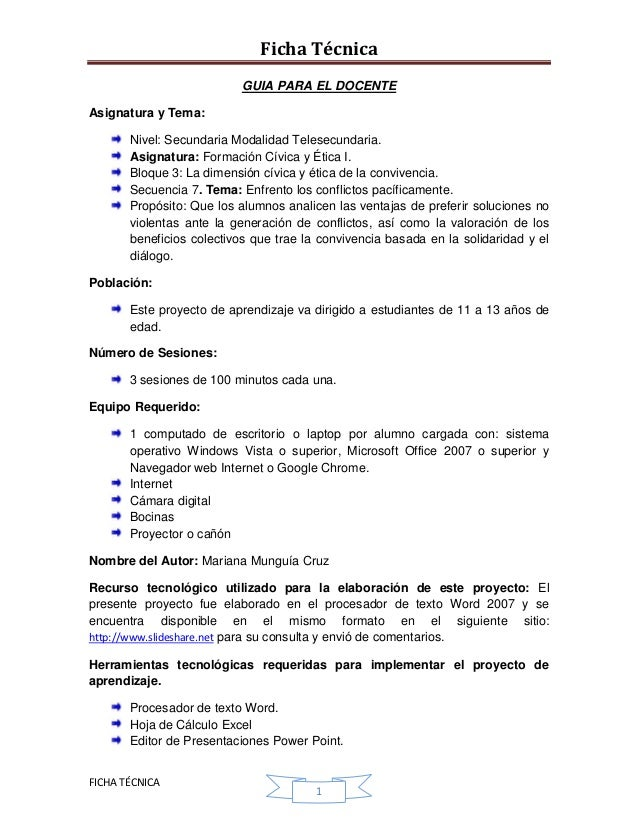 Ficha Técnica                           GUIA PARA EL DOCENTEAsignatura y Tema:       Nivel: Secundaria Modalidad Telesecun...