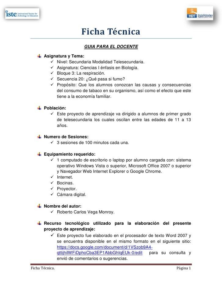 Ficha Técnica                          GUIA PARA EL DOCENTE       Asignatura y Tema:           Nivel: Secundaria Modalida...