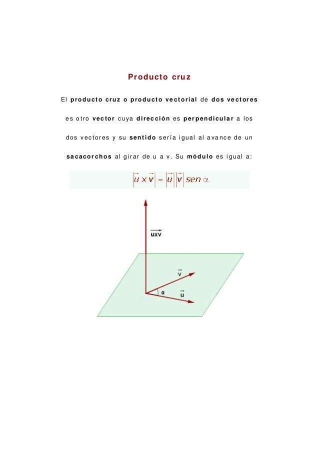 P r o d u c t o cr u zEl producto cruz o producto vectorial de dos vectores es otro vector cuya dirección es perpendicular...