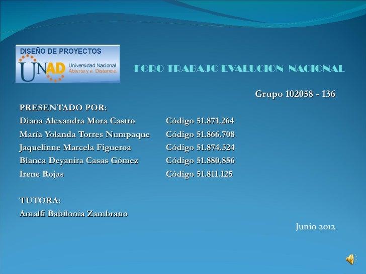 FORO TRABAJO EVALUCION NACIONAL                                                    Grupo 102058 - 136PRESENTADO POR:Diana ...