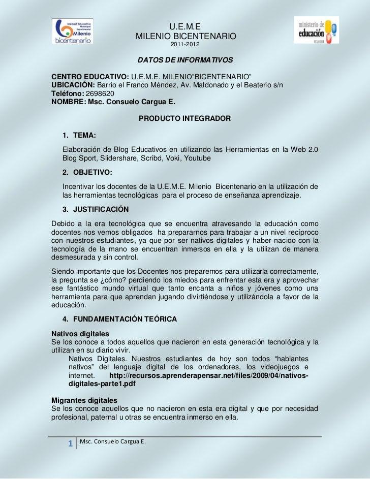 U.E.M.E                            MILENIO BICENTENARIO                                    2011-2012                      ...