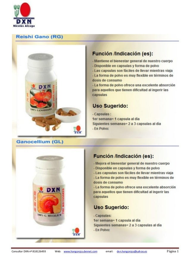 Consultor DXN nº 818126493  Web: www.hongorojo.dxnnet.com  email:  dxn.hongorojo@yahoo.es  Página 1