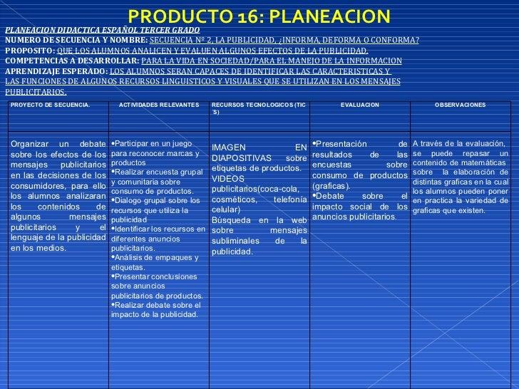 PRODUCTO 16: PLANEACION PLANEACION DIDACTICA ESPAÑOL TERCER GRADO NUMERO DE SECUENCIA Y NOMBRE:   SECUENCIA Nº 2, LA PUBLI...