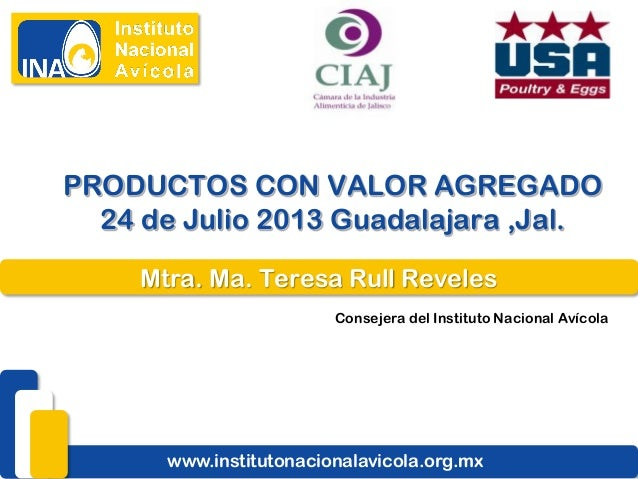 Mtra. Ma. Teresa Rull Reveles Consejera del Instituto Nacional Avícola www.institutonacionalavicola.org.mx PRODUCTOS CON V...