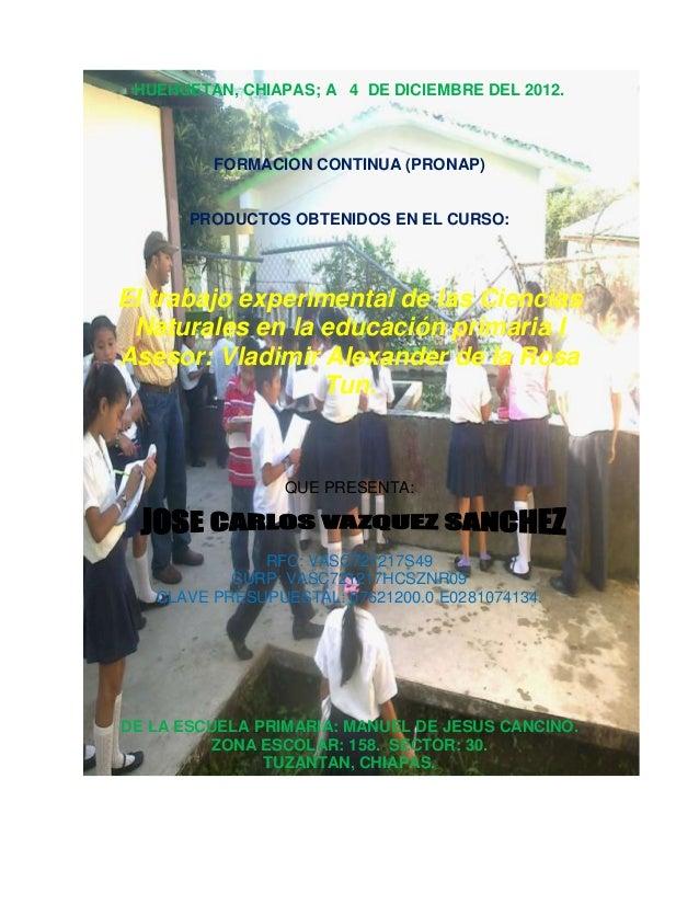 HUEHUETAN, CHIAPAS; A 4 DE DICIEMBRE DEL 2012.FORMACION CONTINUA (PRONAP)PRODUCTOS OBTENIDOS EN EL CURSO:El trabajo experi...