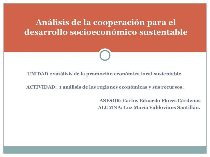 Análisis de la cooperación para eldesarrollo socioeconómico sustentableUNIDAD 2:análisis de la promoción económica local s...