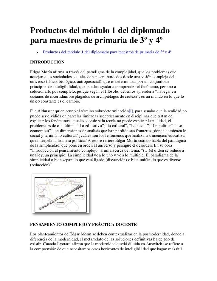 Productos del módulo 1 del diplomado para maestros de primaria de 3º y 41
