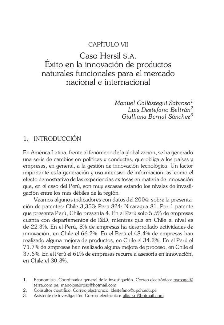 CAPÍTULO VII                   Caso Hersil s.a.         Éxito en la innovación de productos        naturales funcionales p...