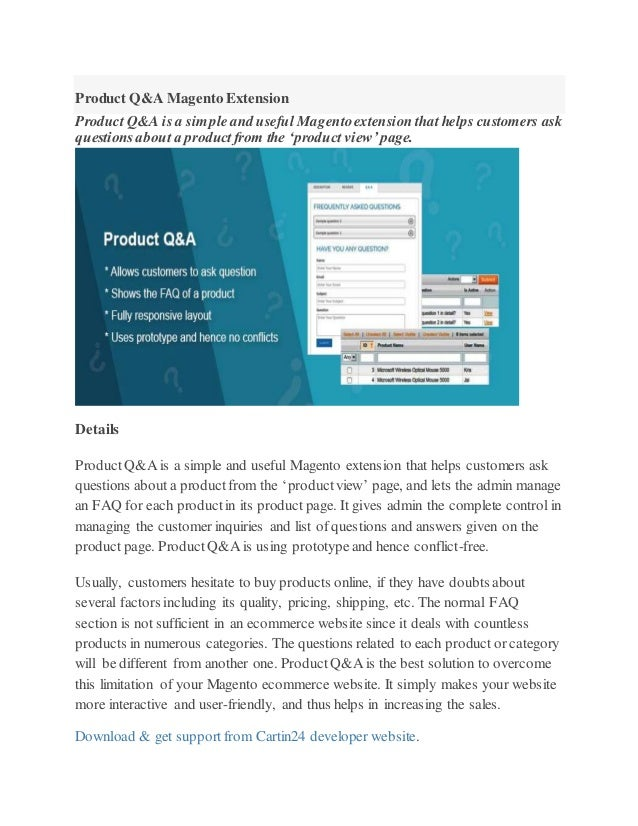 product q a magento extension