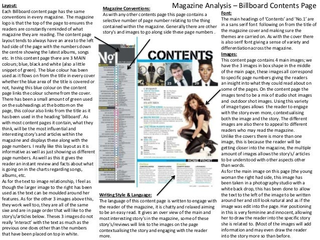 Layout: Each Billboard content page has the same conventions in every magazine. The magazine logo is that the top of the p...