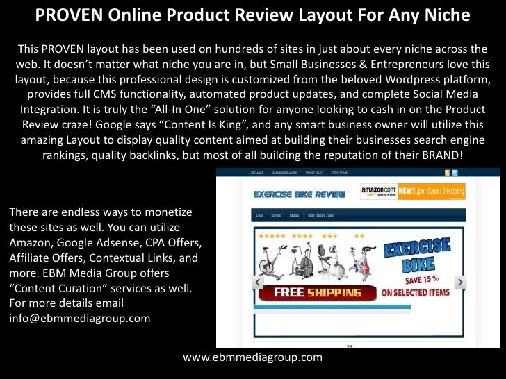 PROVEN Online Product Review Layout For Any Niche  This PROVEN layout has been used on hundreds of sites in just about eve...