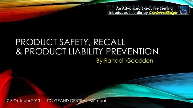 Product safety & Recall Prevention Seminar  Mumbai