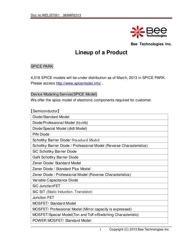 Doc no WELIST001 06MAR2013                                                             Bee Technologies Inc.              ...