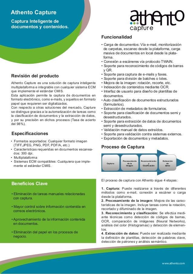 www.athento.comAthento CaptureCaptura Inteligente dedocumentos y contenidos.Revisión del productoAthento Capture es una so...
