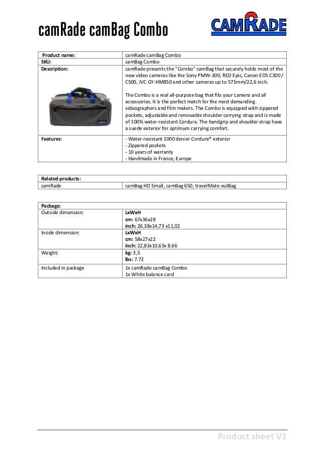 Camrade Cambag Combo Brochure