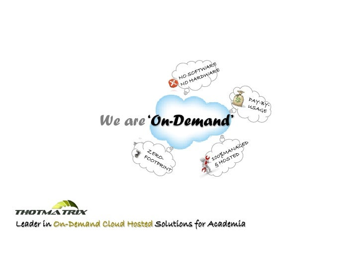 CONTACT                     We are 'On-Demand'     Leader in On-Demand Cloud Hosted Solutions for Academia