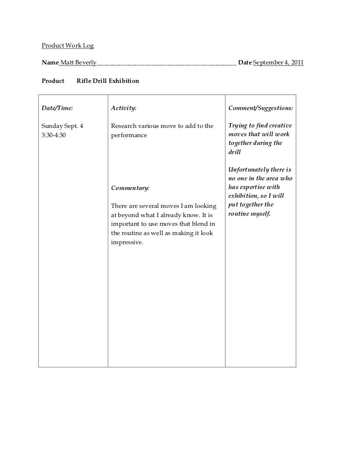 Product work log template 2011 12