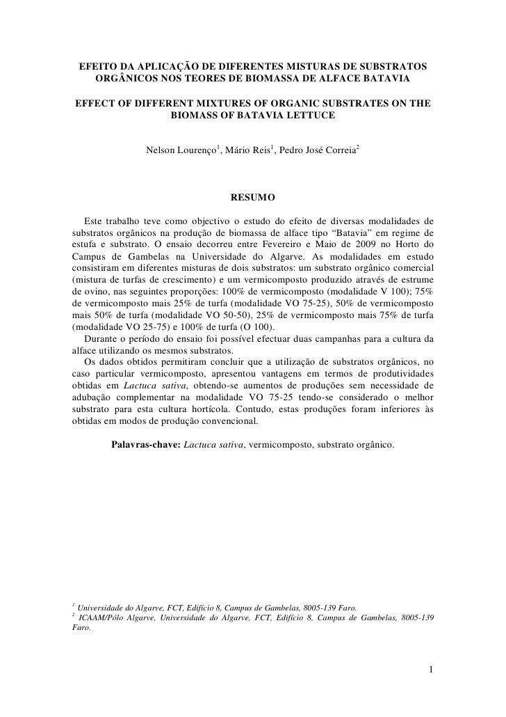 Efeito da aplicação de diferentes misturas de substratos orgânicos nos teores de biomassa de alface batavia