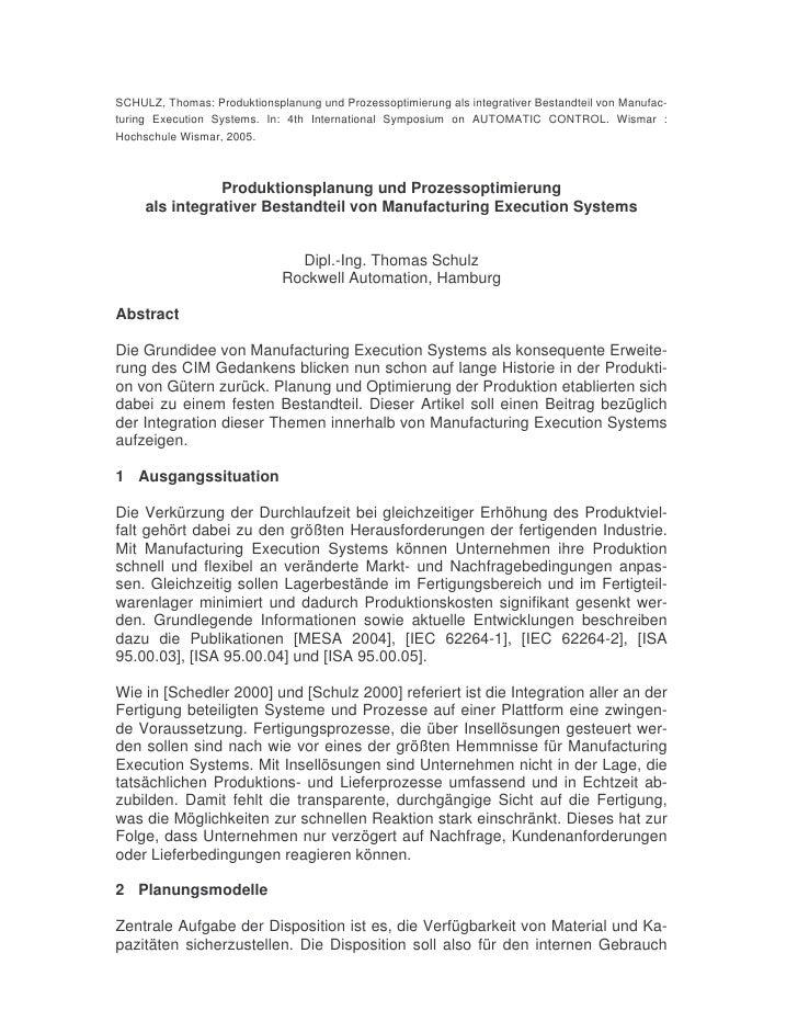 SCHULZ, Thomas: Produktionsplanung und Prozessoptimierung als integrativer Bestandteil von Manufac- turing Execution Syste...