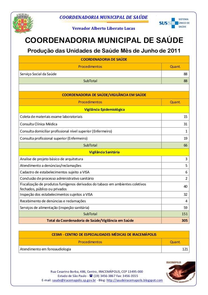 Produção das unidades de saúde mês de junho 2011