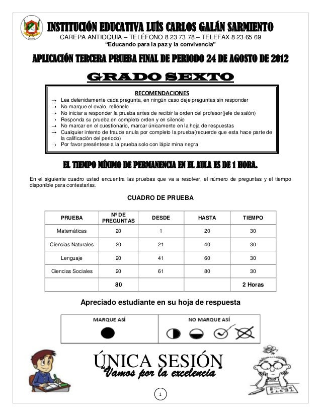 INSTITUCIÓN EDUCATIVA LUÍS CARLOS GALÁN SARMIENTO            CAREPA ANTIOQUIA – TELÉFONO 8 23 73 78 – TELEFAX 8 23 65 69  ...