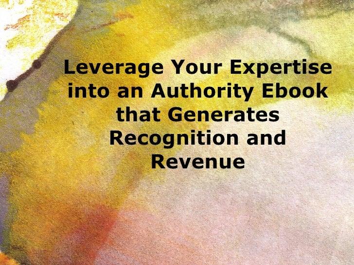 Leverage an Ebook