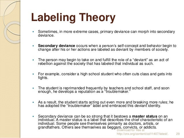 sociology labelling In the 1960s, labelling theory in sociology was used to define and describe  deviance and mental illness four decades later the theory does not hold up to.