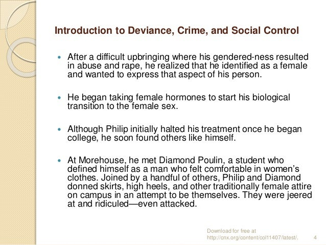 deviance crime and social control Learning objectives define deviance, crime, and social control understand why Émile durkheim said deviance is normal understand what is meant by the relativity of.