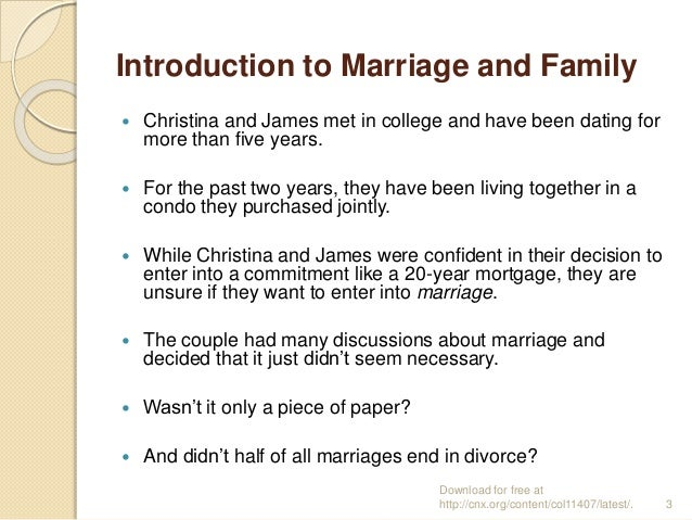 marriage and introduction cohabitation Jpr report july 2016 jews in couples: marriage, intermarriage, cohabitation and divorce in britain 1 contents executive summary 2 jews in couples: an introduction 4.