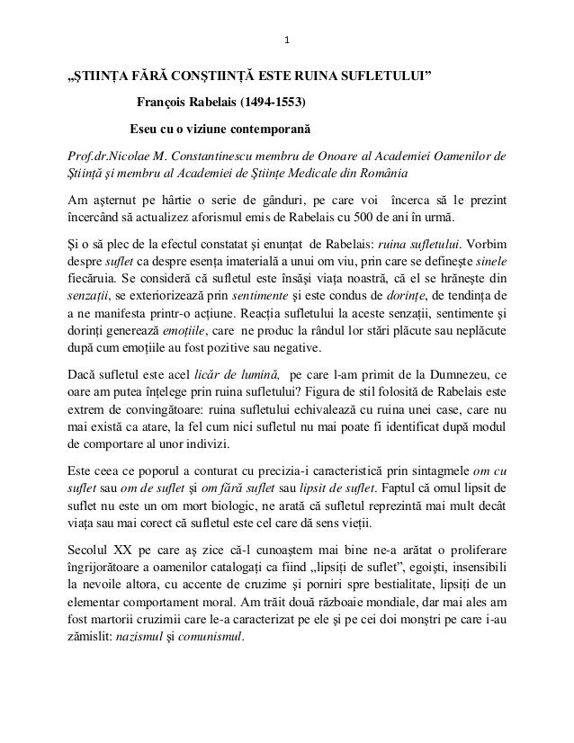 Prof.dr. Nicolae M. CONSTANTINESCU - Stiinta fara constiinta este ruina sufletului (Francois RABELAIS) - Eseu cu o viziune contemporana