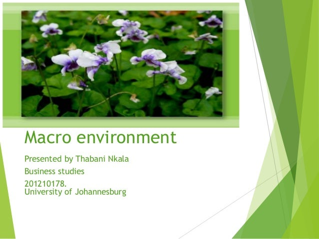Macro environment Presented by Thabani Nkala Business studies 201210178. University of Johannesburg