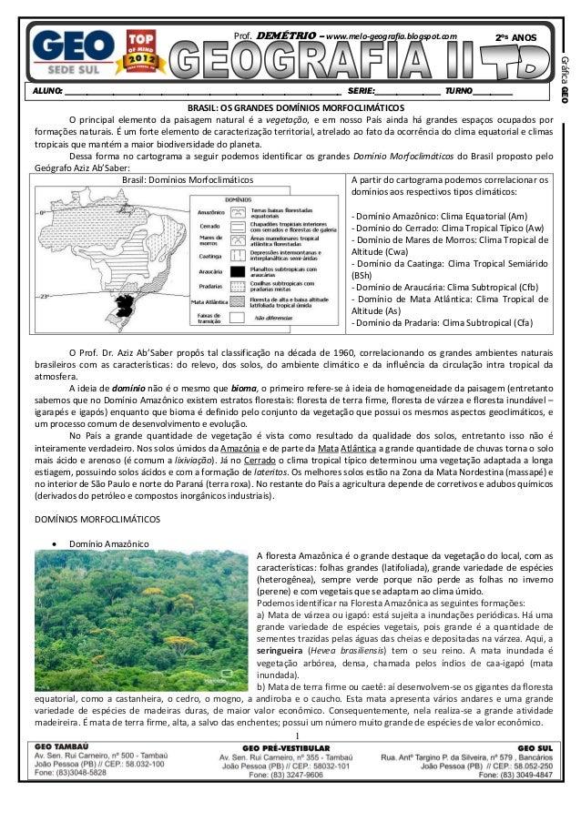 Prof. DEMÉTRIO – www.melo-geografia.blogspot.com  2ºS ANOS  BRASIL: OS GRANDES DOMÍNIOS MORFOCLIMÁTICOS O principal elemen...