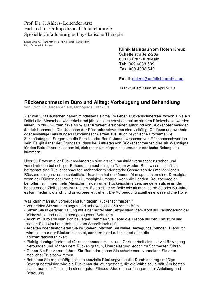 Prof. Dr. J. Ahlers- Leitender Arzt Facharzt für Orthopädie und Unfallchirurgie Spezielle Unfallchirurgie- Physikalische T...